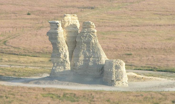 """Castle Rock - near Quinter, KS - I remember going here with my great grandparents and visiting the old homestead.  After the 4th column fell, I went back with my grandma and mom and the two ruts """"road"""" was absolutely awful - won't be able to access much longer."""
