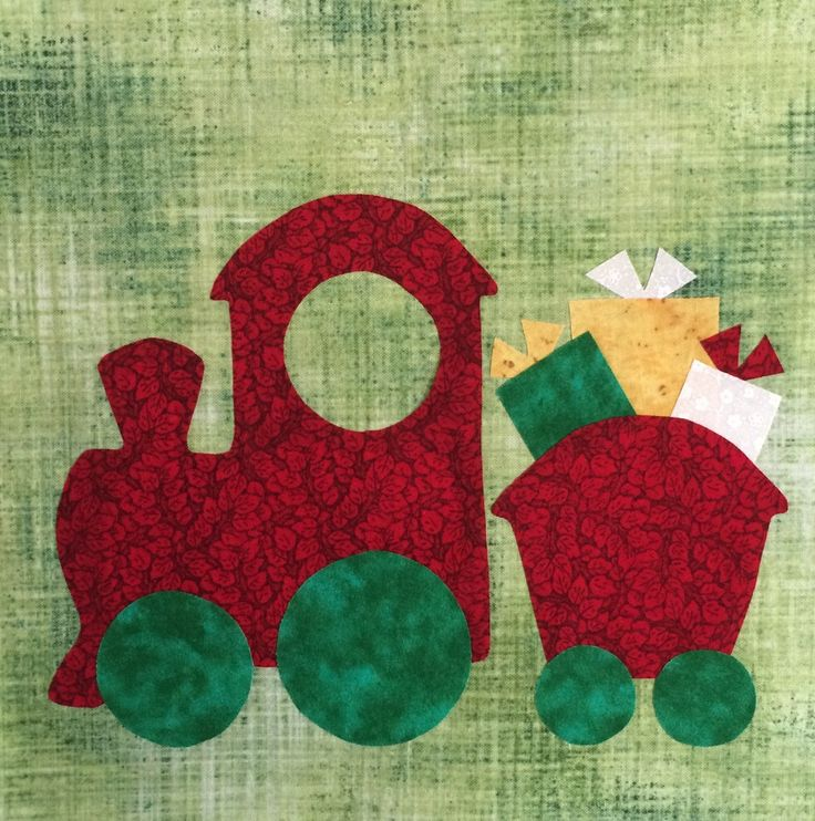 """Free pattern for Santa's Train, in: """"Do You See Christmas"""" Quilt Block Of The Week by Lyn Brown"""