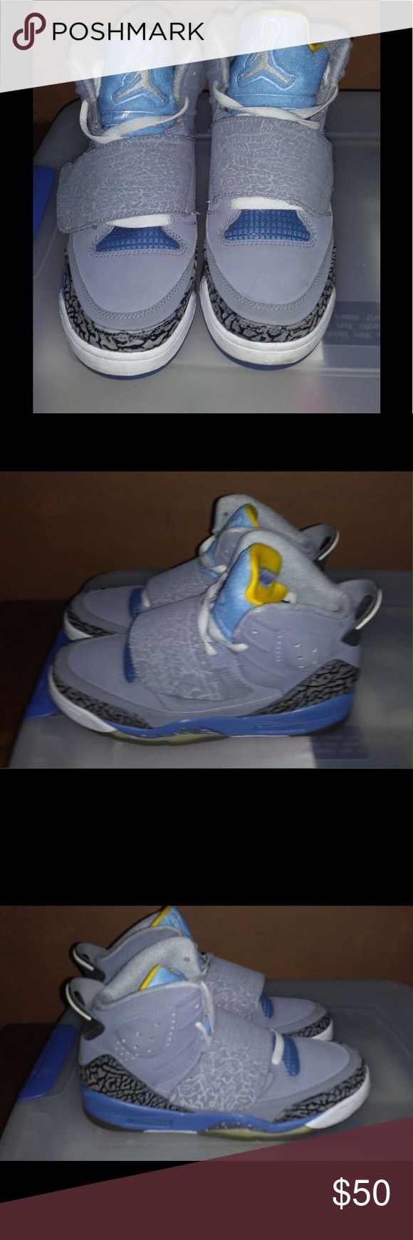 Nike air Jordan Almost new only worn a couple of times,  yellow gray and blue Nike Shoes Athletic Shoes