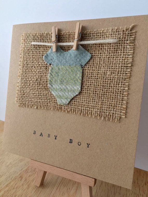 New Baby Boy Card, Baby Boy, Baby Card, New Baby, Baby Vest, Tartan, New Parents