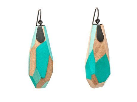 Wooden earrings by Yuko Fujita  (Oxidised sterling silver, wood, paint)