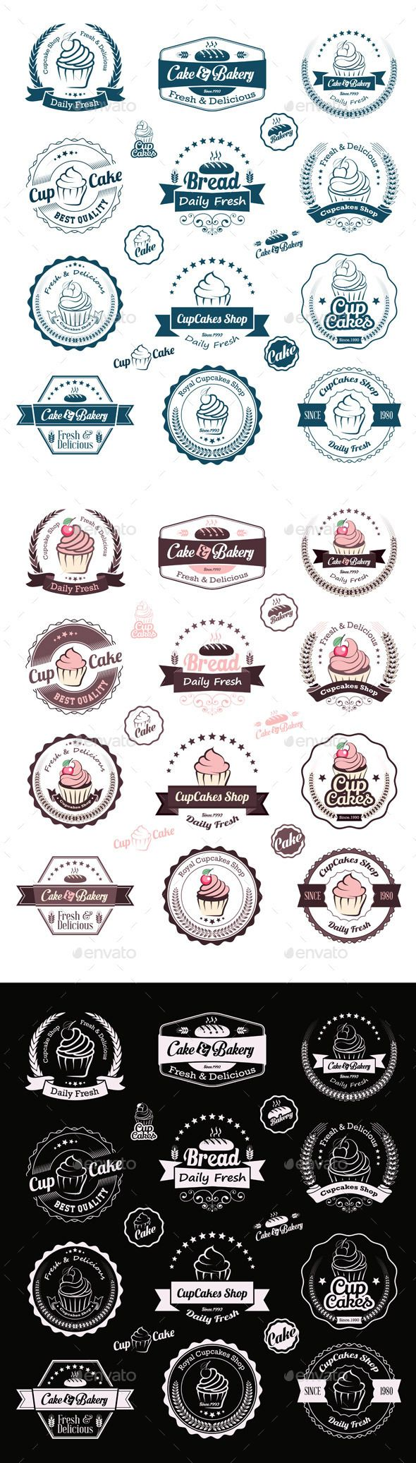 Cupcakes Vintage Labels Vector Template #design Download: http://graphicriver.net/item/cupcakes-vintage-labels/9406205?ref=ksioks
