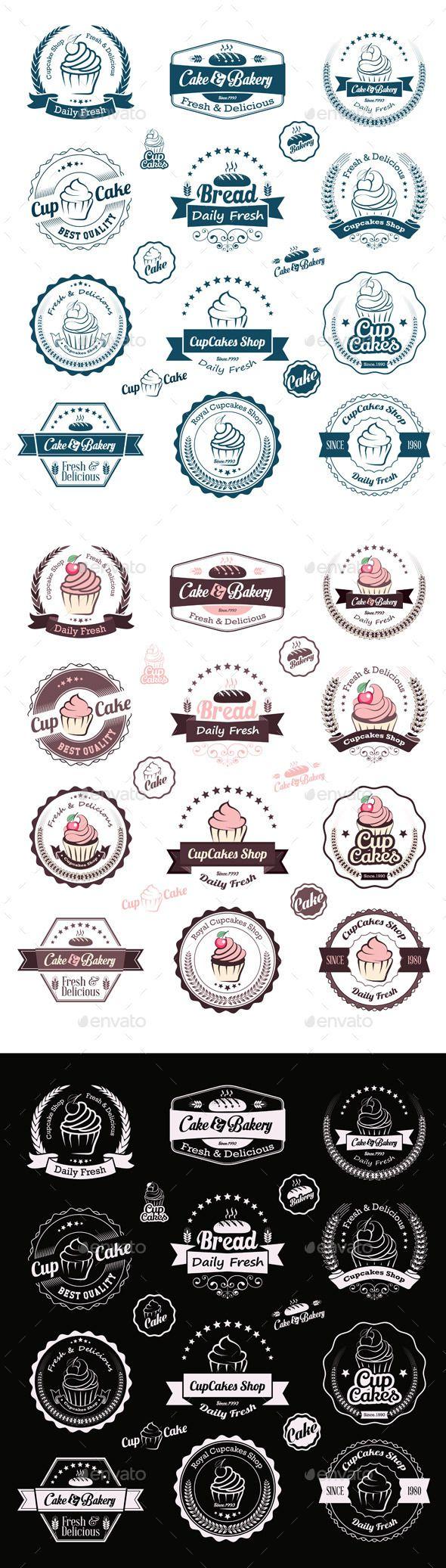 Cupcakes Vintage Labels Vector Template #design Download: http://graphicriver.net/item/cupcakes-vintage-labels/9406205?ref=ksioks