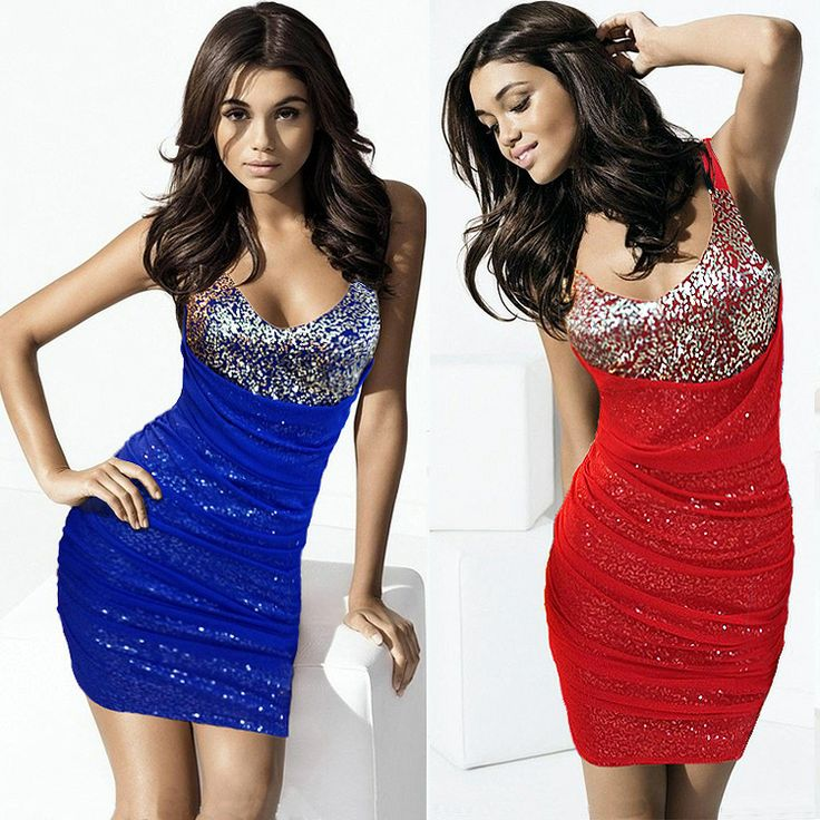 New ArrivalStrong push new traffic explosion models in Europe and America 7052 V-neck tight sequined skirt package hip nightclub US $10.38