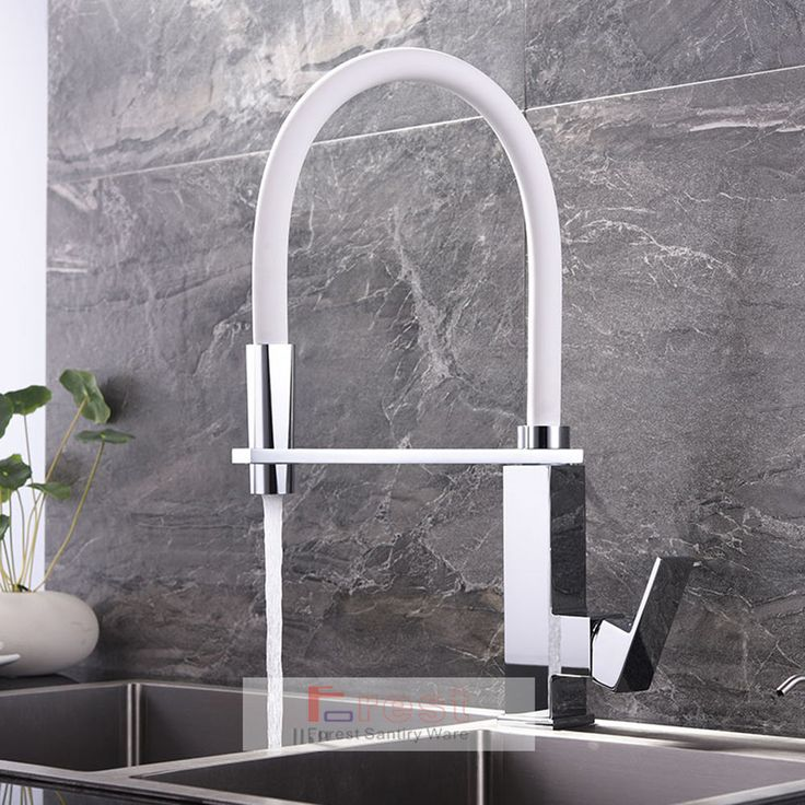 White Pull Out Down Spout Brass Chrome Kitchen Sink Mixer Taps Square Faucet in Home, Furniture & DIY, Kitchen Plumbing & Fittings, Kitchen Taps   eBay!