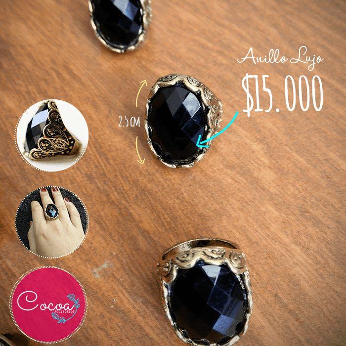 Anillo negro y dorado. Su precio: $15.000 CO #accesorioscocoa #accesoriosParaMujer #cocoaccesorios