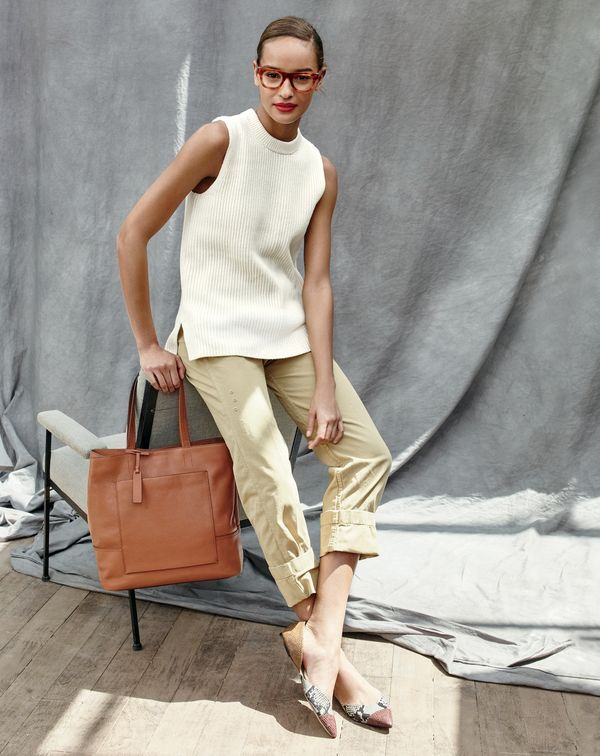 J.Crew women's sleeveless tunic sweater, broken-in boyfriend chino, all-day tote and Sadie flats in snakeskin-printed leather.