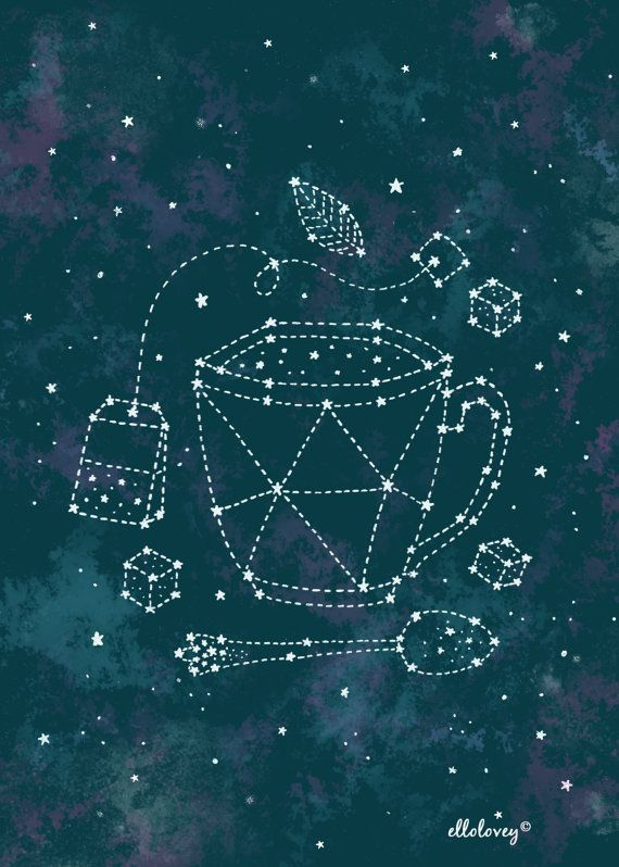 Tea Time Constellation 5x7 Art Print by ellolovey on Etsy, $12.00