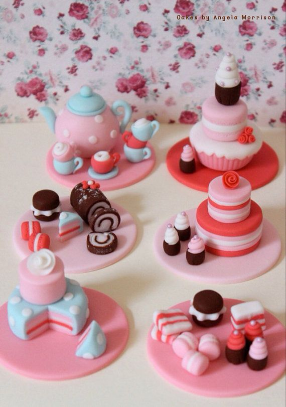 Tea party set of cupcake toppers