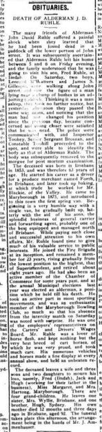 1916 Obituary of Alderman John David Ruhle