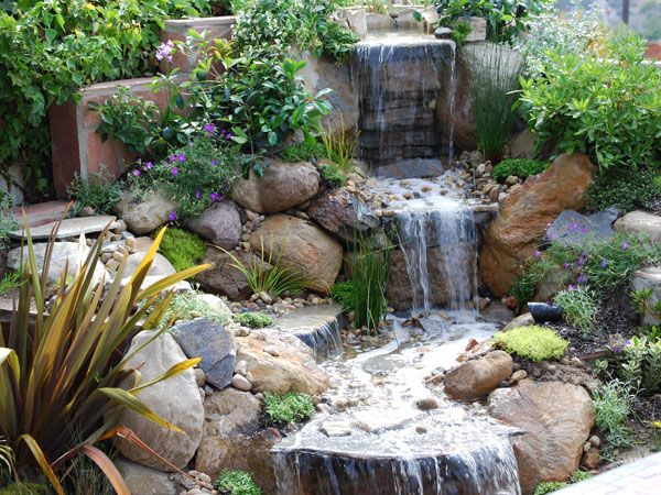 Enjoy the soothing sounds of a garden water feature.