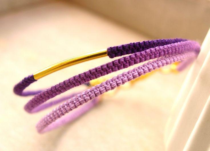 Bracelet violet tissé en coton : Bracelet par callenana