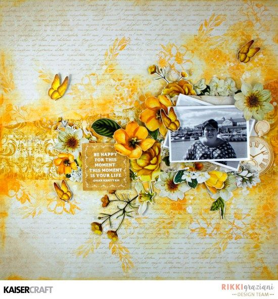 """Be Happy.... "" Layout and Video Tutorial By Rikki Graziani DT member for Kaisercraft Official Blog using the stunning July 2012 ""Golden Grove"" collection. Learn more at kaisercraft.com.au/blog - Wendy Schultz - Kaisercraft Layouts."