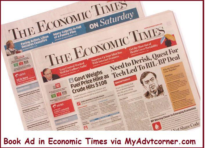 Book #your #ad in #economictimes #newspaper via myadvtcorner