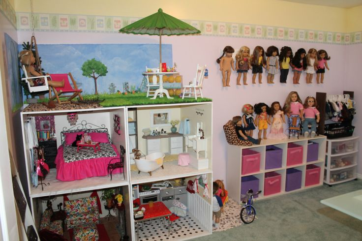 Doll house inspiration.  She tells you how she built this, the demensions and what she used.  How pretty everything is!  You can also use this to build for smaller dolls.