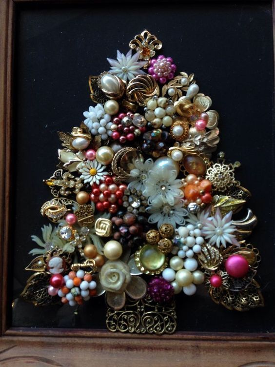Vintage Rustic Jewelry Art Christmas Tree Jewelry