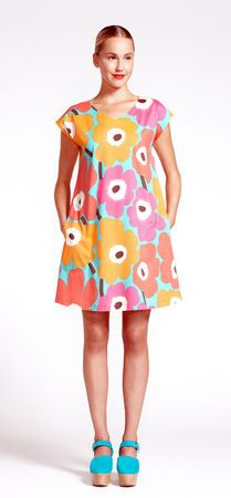 Another super flattering dress with a v-neck. short sleeves and pockets in the most summery Unikko print from Marimekko. (Courtesy of Marimekko)