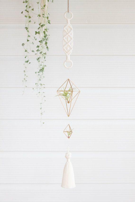 Cascade // Himmeli Brass Ornament   Modern Macramé by KnottyBloom