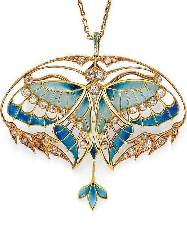 Art Nouveau 18kt Gold, Plique-à-Jour Enamel, and Diamond Pendant/Brooch, Henri Vever Paris. Designed as a butterfly with plique-à-jour enamel wings and bezel-set old mine-cut diamonds, framed by foliate motifs set with old mine- and rose-cut diamonds, diamond-set bail, with removable findings for pendant or brooch conversion, and with original screwdriver, French import stamps, signed VEVER PARIS, in original fitted box for Vever, 14 rue de la Paix.: