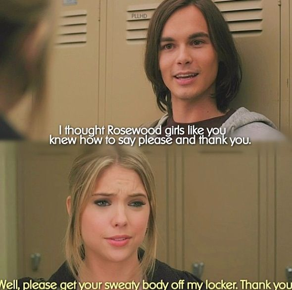 Tyler Blackburn (Caleb Rivers) & Ashley Benson (Hanna Marin) - Pretty Little Liars Haleb is so so cute