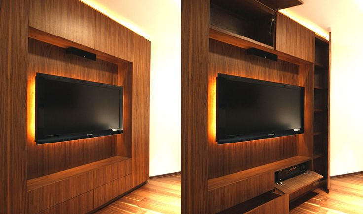 Dise o de mueble para tv televisor pared pinterest - Mueble tv dormitorio ...