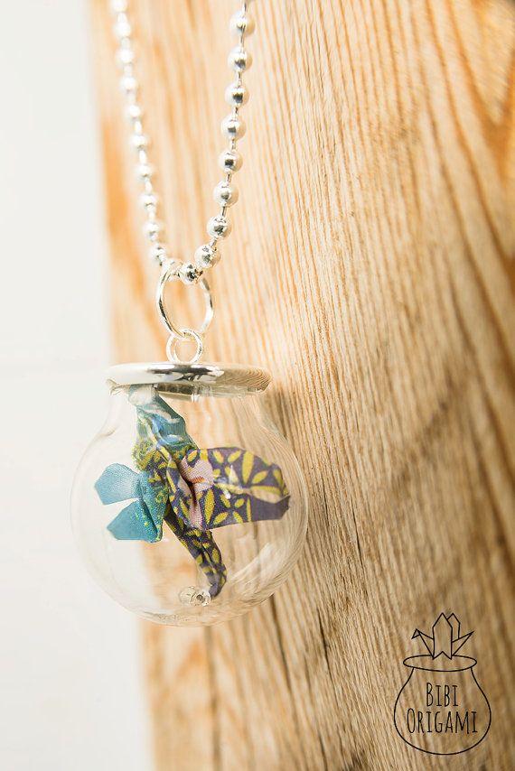 Origami dragonfly Globe Bottle Pendant Necklace Glass