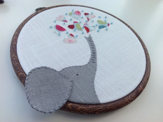 Elephant picture - textile animal hoop art £17.50