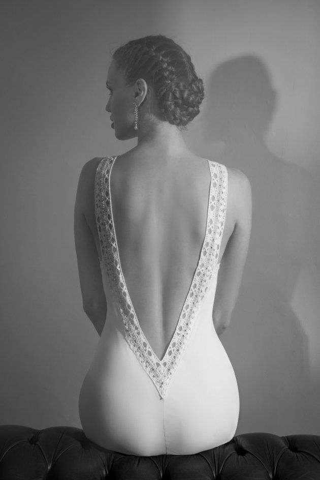 low back wedding dress and chic braids
