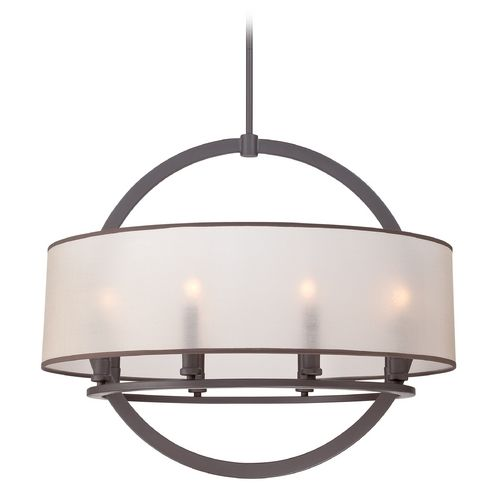 quoizel lighting portland western bronze pendant light with drum shade at destination lighting - Bronze Pendant Light