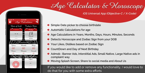 Age Calculator & Horoscope iOS Universal App (Objective-C / X-Code) . Age Calculator &