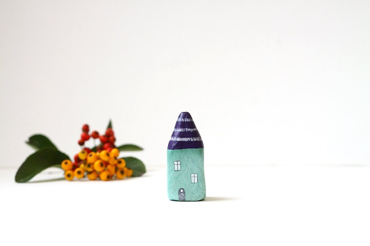 Little Home No 213 - Little autumn clay house - aubergine and sage green with stripes