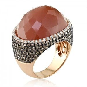Pink gold Brown moonstone ring with chocolate and white diamonds