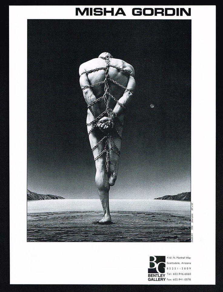 1995 Misha Gordin Art Amputee Man In Chains Bentley Gallery Print Ad