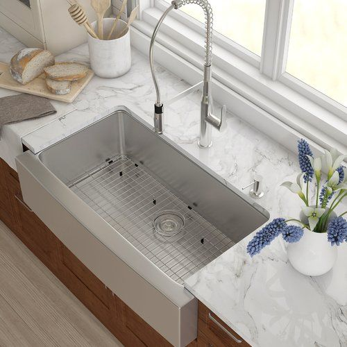"""Found it at Wayfair - Stainless Steel 35.88"""" x 20.75"""" Farmhouse Kitchen Sink with NoiseDefend™ Soundproofing Rectangular  Bathroom Sink"""
