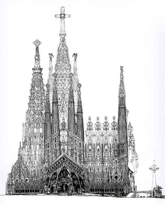 Sagrada Familia / Otros materiales / Dibujo de la fachada de la Pasión