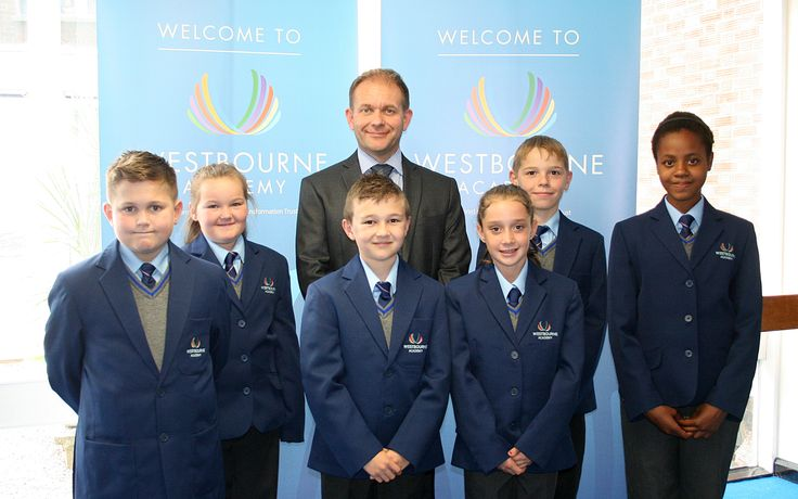 Principal Garry Trott and Westbourne Academy pupils in Ipswich