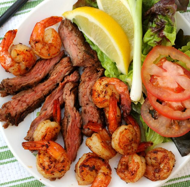 Citrus Surf and Turf. Shrimp and steak made with spices, lemon, and lime juice. Great on the BBQ.