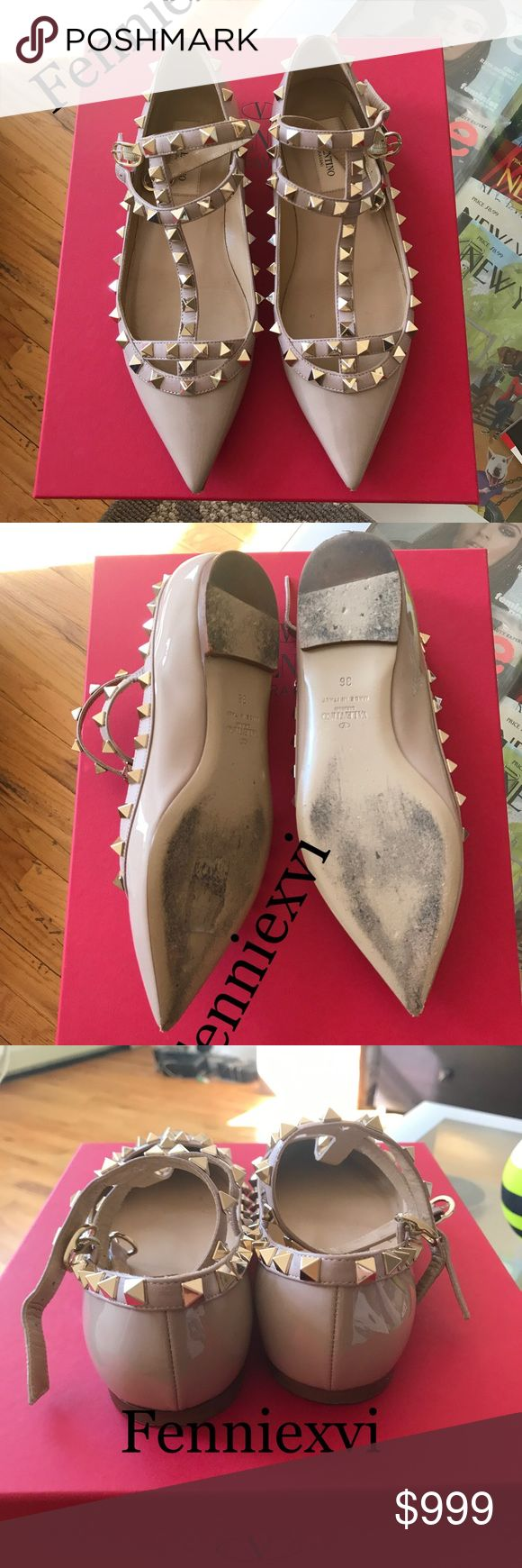 Valentino Nude/Poudre Patent Rockstud Flats Size 6 100% authentic, worn once! NO scuffs or marks on the surface of the leather. 9/10. Highly sought after classic color, sold out! Comes with original box and dustbag. NO TRADES! Email vixfennie@gmail.com for offers, questions and pictures. Look at my previous sales and comments from buyers. NO SCAMMERS🙅 Valentino Shoes Flats & Loafers