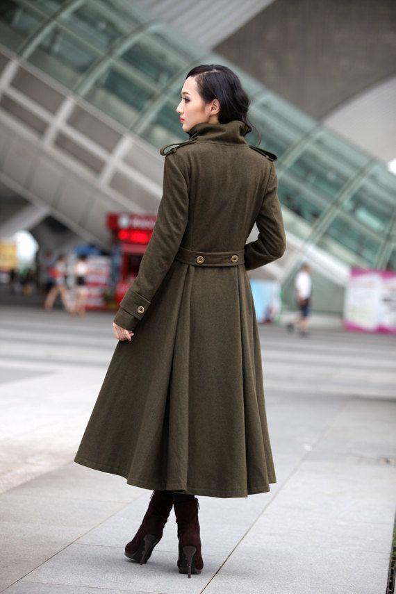 Dark Grey Coat Big Sweep High Collar Women Wool by Sophiaclothing