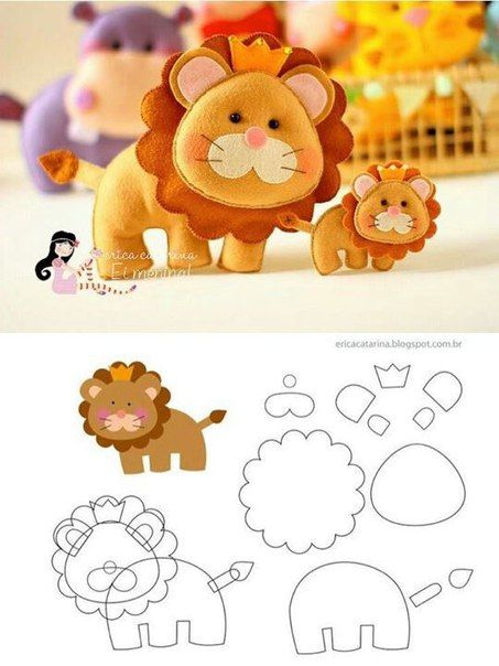 Como hacer leones en fieltro con moldes