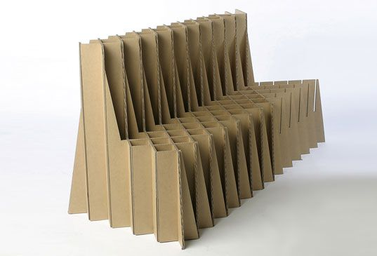 Take a seat with us. Giles Miller, corregated cardboard furniture. Recycled and beautiful.