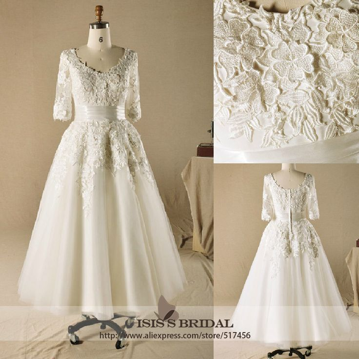 2013 Wholesale Vintage V-neck A-line Lace Long Sleeves Ankle-length Wedding Dresses $152.59