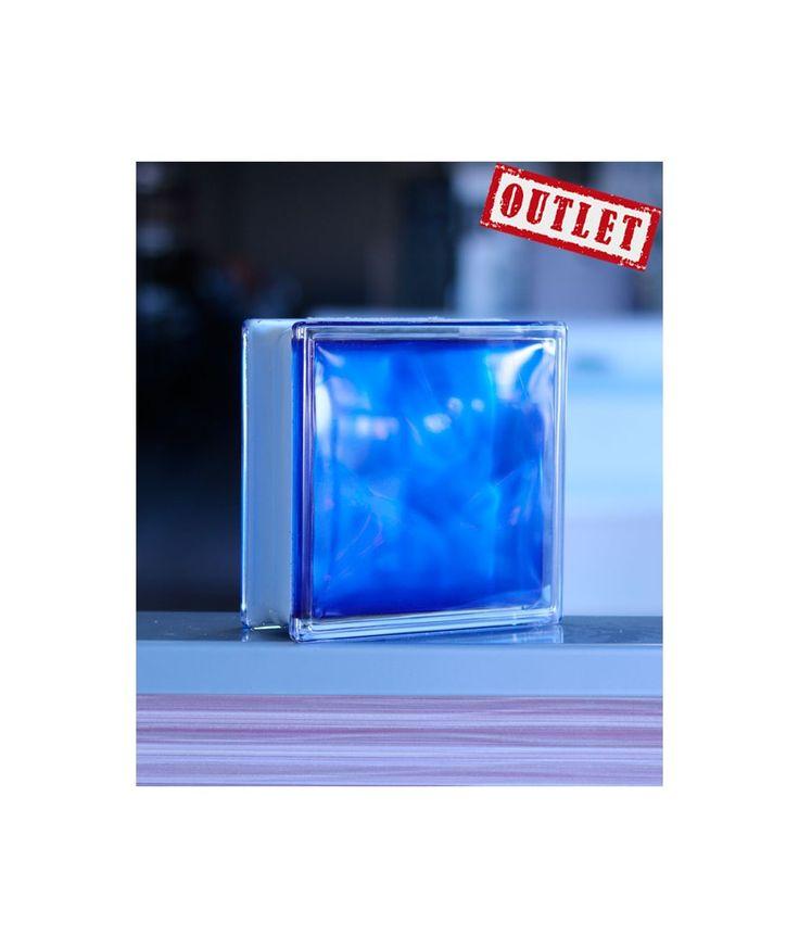 Bloque de Vidrio Paves Azul Ondulado  Bloques de Vidrio Outlet Original Bloque de Vidrio Paves Ondulado color azul claro de 19/19 cm. Ideal para colocar en el baño. Fabricante Future  Ofertas Outlet