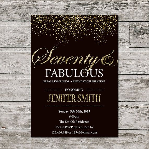 51 best 70th Birthday Party Ideas images on Pinterest Invitations