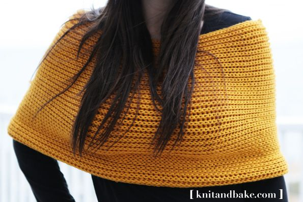 Cowl Sweater Shrug - easy, free knitting pattern from Knitandbake.com, using the brioche stitch.