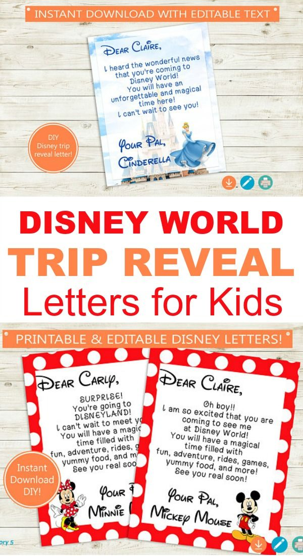 Disney World or Disneyland Trip Reveal Letters for Kids from their favorite Disney characters #disneyprincess #mickeymouse #minniemouse #disneyland ...