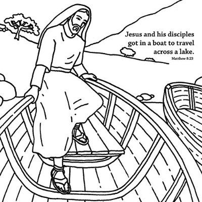 Jesus Calms The Storm Coloring Card 12 Pk 30015
