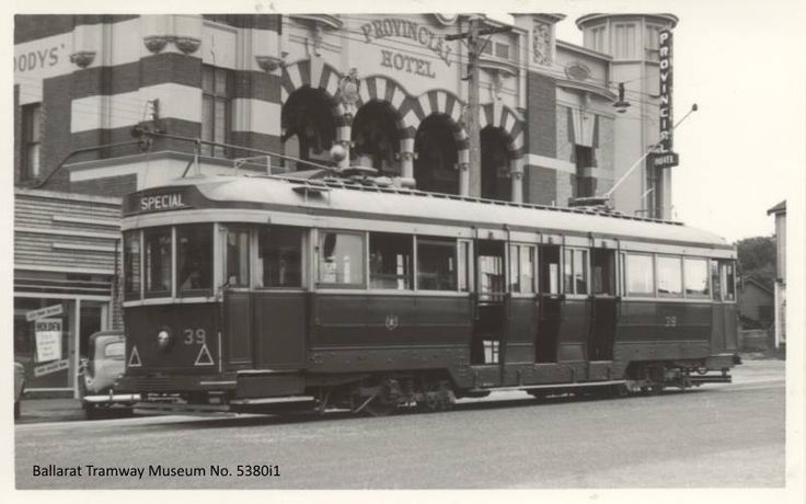 Tram 39 outside the Provincial Hotel in Lydiard Street, c 1950