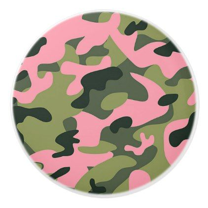 36c54dcc5731 Country Pink Green Army Camo Camouflage Pattern Ceramic Knob - pattern  sample design template diy cyo customize