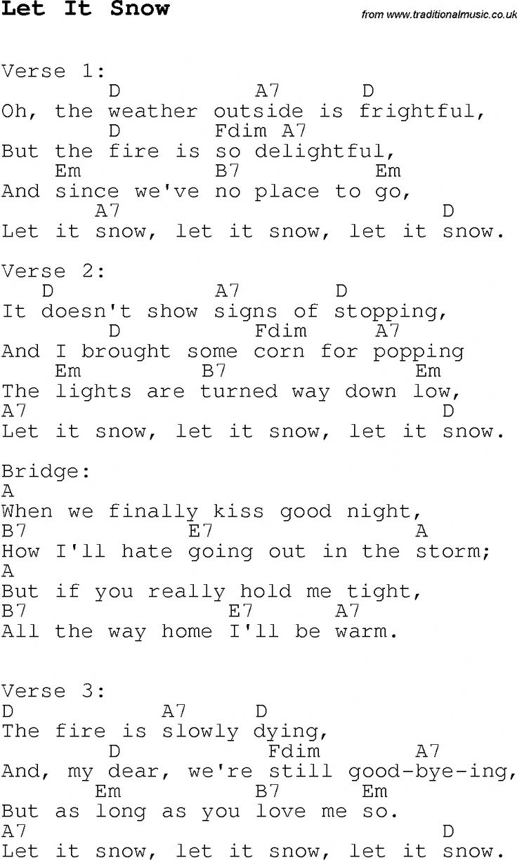 christmas songs and carols lyrics with chords for guitar banjo for let it snow